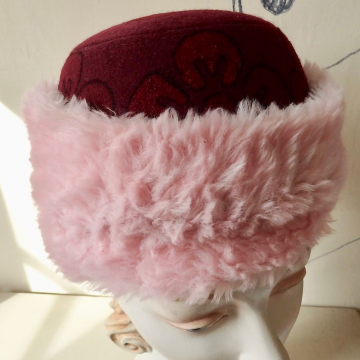 "Flowered Cap with Pink ""Fur"""