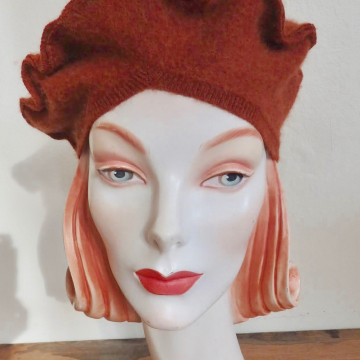 Rust Beret with Trims