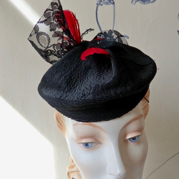 Lil' Fascinator with Lace and Feathers