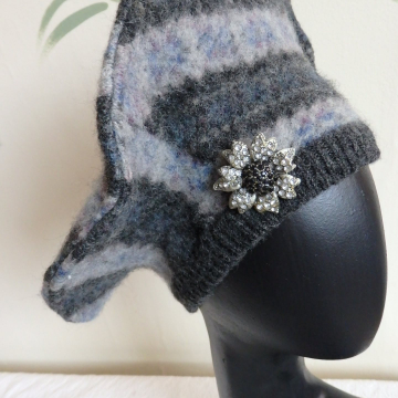 Beret with Vintage Flower Pin