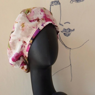Flowered Beret w/Silk Lining
