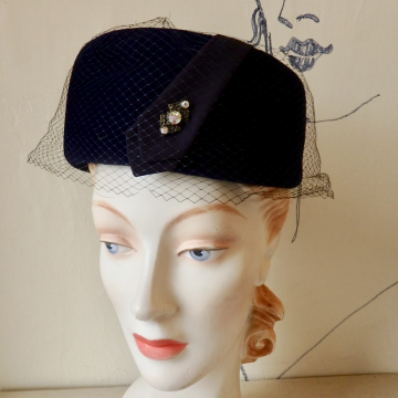 Vintage Navy Blue Pillbox with Veil and Rhinestones