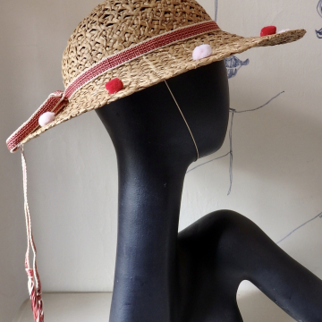 Cute Straw Boater with PomPoms