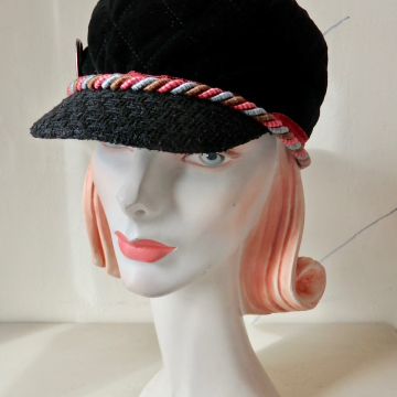 Brimmed Cap with Rope Trim and Face Pin