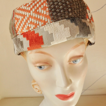 Orange Upholstery Sample Dome Hat