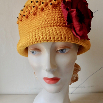 Bright Yellow Beaded Hat with Poppy