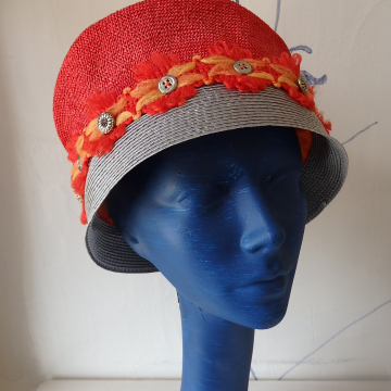Two Hats Combo with Vintage Trim and Buttons