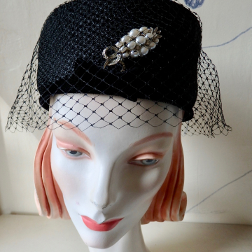 "Veiled Pillbox with ""Pearl"" Pin"