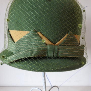 Moss Green Hat with Trim and Dotted Netting