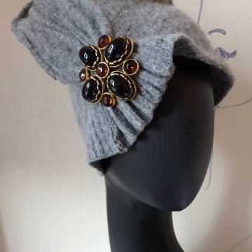 Tall, Pleated, with Big Vintage Brooch