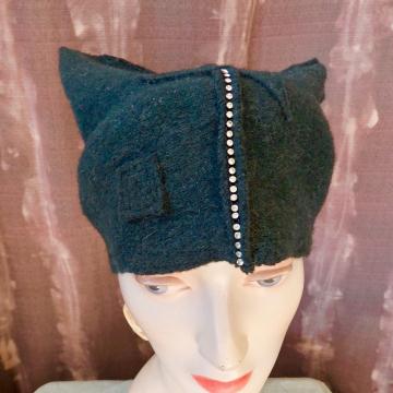"""Rhinestone Embellished """"Pussy"""" Hat"""